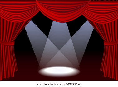 Open red stage curtains with three spotlights