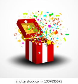 Open Red Surprise Gift Box with Confetti and Party Paper Decoration Isolated on White Background