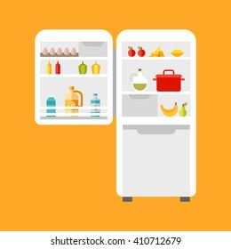 Open refrigerator with food. Flat style vector illustration