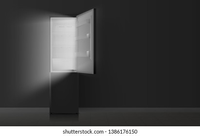 Open refrigerator in kitchen at night. Vector illustration