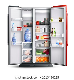 Open refrigerator with two red and black doors full of fresh products in realistic style isolated vector illustration