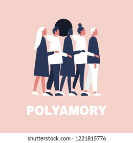 Open relationships. Polyamory. A group of people hugging each other. Modern lifestyle. Young adults. Flat editable vector illustration, clip art
