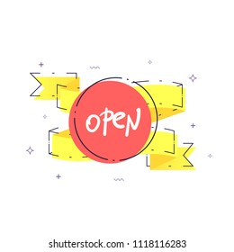 Open retro singboard isolated on white background. Vector illustration.
