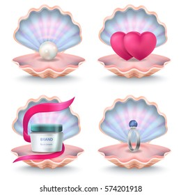 Open rosy shells with face cream bottle, two pink hearts, wedding ring with stone and white pearl inside. Vector poster of seashells used as festive boxes with decorative and precious elements.