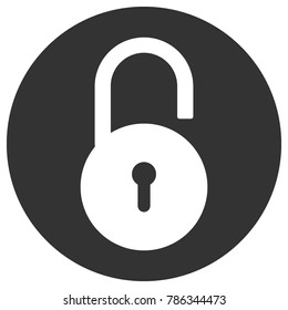 Open round lock with keyhole in circle. Vector icon.