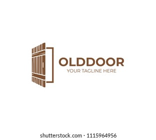 Open rustic door logo template. House door vector design. Opened door to a living room logo