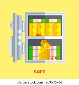 Open safe with money , gold, diamonds . Flat vector illustration .