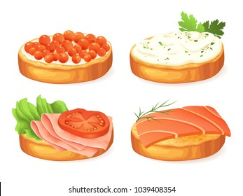 Open sandwiches with different toppings isolated on white background. Vector illustration