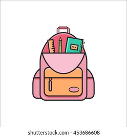 Open school backpack with ruler, pencil and copybook. Icon of knapsack in trendy flat line style on isolated white background. Back to school vector illustration.