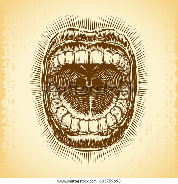 Open screaming mouth with teeth; Shouting singing yawning mouth; Jaw drop; T-shirt print design from vintage tattoo in ink hand drawing style; Vector background Eps8