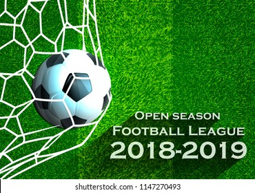 Open season Football League  2018-2019 Text - with Football,net,Grass,football field.