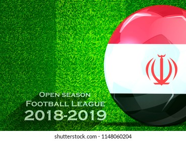 Open season Football League  2018-2019 Text - with Soccer ball flag of egypt,Grass,football field.