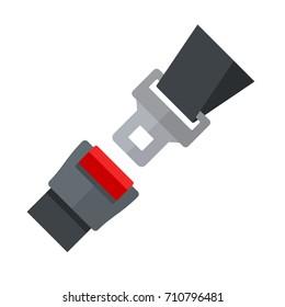 Open Seatbelt. Flat Style Vector