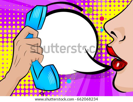 Stock Vector Sexy Woman Lips Eating Banana Vector Illustration In Comic Pop Art Style