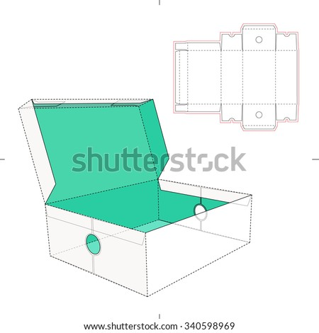 Open Shoes Box With Die Cut Template