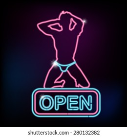 Open sign with silhouette of sexy man