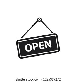 open sign vector icon, welcoming shop visitor