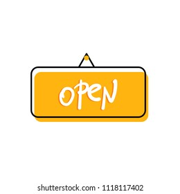 Open singboard isolated on white background. Vector illustration.