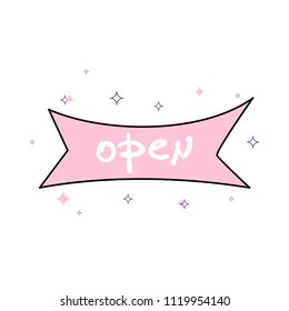 Open singboard ribbon isolated on white background. Vector illustration.