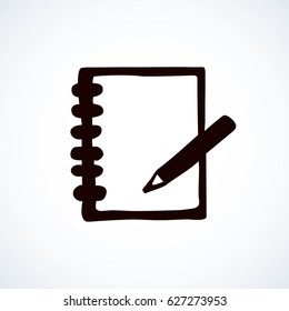 Open sketchpad tablet isolated on white background. Web outline logo. Freehand linear black ink hand drawn picture sketchy in art retro scribble contour graphic style. View closeup with space for text