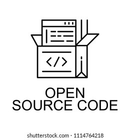 open source code icon. Element of web development signs with name for mobile concept and web apps. Detailed open source code icon can be used for web and mobile on white background