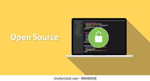 open source code program technology software development with yellow background and long shadow