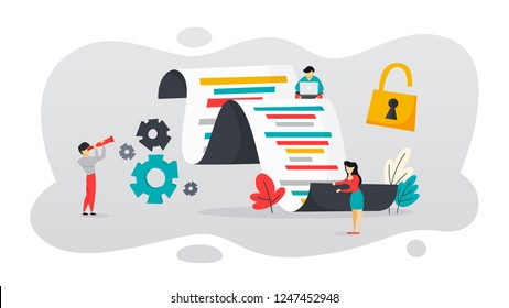 Open source concept. Free software for the computer. Download and install file for free. Flat vector illustration