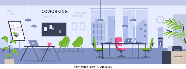 Open space coworking office concept design. Can use for web banner, infographics, hero images. Flat vector illustration isolated on white background.
