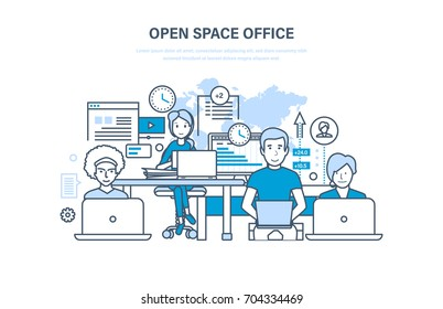 Open space office concept. Interior of the room. Business team, teamwork. Workplaces indoors. Working space with furniture. Illustration thin line design of vector doodles, infographics elements.