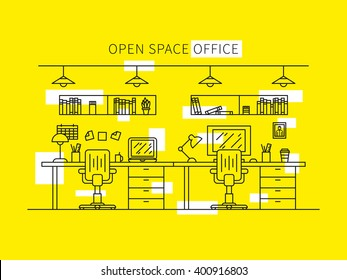 Open space office line art vector illustration. Designer working place creative concept. Minimal office space outline graphic design. Home working space with furniture (shelves, books, table, lamp).