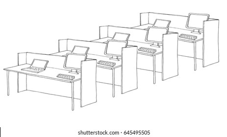 Open Space office. Workplaces outdoors. Tables, chairs and windows. Vector illustration in a sketch style.