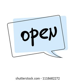 Open speech bubble singboard isolated on white background. Vector illustration.