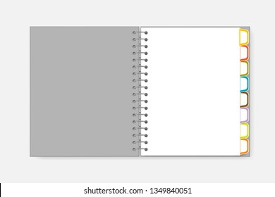 Open spiral notebook with colorful divider tabs, vector mockup. Wire bound white blank diary with bookmark pages letter size, template.