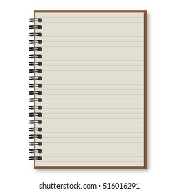 open Spiral notebook with lined isolated on white vector