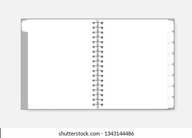 Open spiral notebook with tab divider pages letter size, vector mockup. White blank wire bound notepad spread, template.