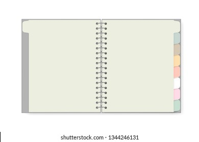 Open spiral notebook with tab divider pastel colored pages isolated on white background, realistic mockup. Blank wire bound notepad spread, vector template.