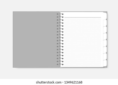 Open spiral white graph paper notebook with divider tab pages, realistic mockup. Wire bound bookmark sheet notepad spread, vector template.