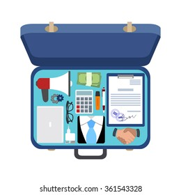 Open the suitcase of a businessman,  set of things, vector illustration