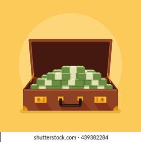 Open suitcase full of money. Vector flat cartoon illustration