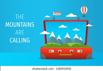 Open suitcase with mountains calling for journey and discover. Travelling illustration vector