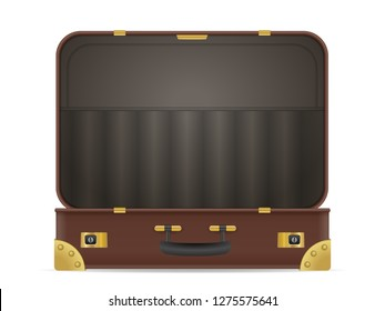 Open suitcase on a white background. Vector illustration.
