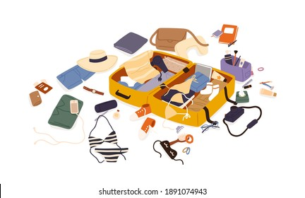 Open suitcase with scattered female travel accessories, clothes and documents vector flat illustration. Composition of preparation to trip or summer vacation isolated. Luggage or baggage packing