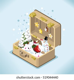 Open suitcase with snow landscape, snowman, boot stuffed with christmas cookies and snow bunnies (isometric illustration)