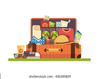 Open suitcase with things for travel or vacation. Set of things for travel. Vector flat design illustration