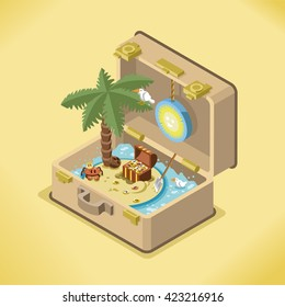 Open suitcase with treasure chest on a little island with palm tree (isometric view)