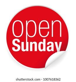 Open sunday label sticker vector