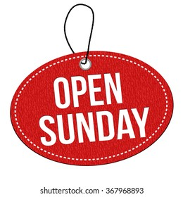 Open sunday red leather label or price tag on white background, vector illustration