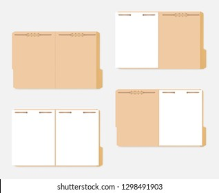 Open tabbed file folder with metal fastener keeping paper sheets inside, vector template. Letter size.