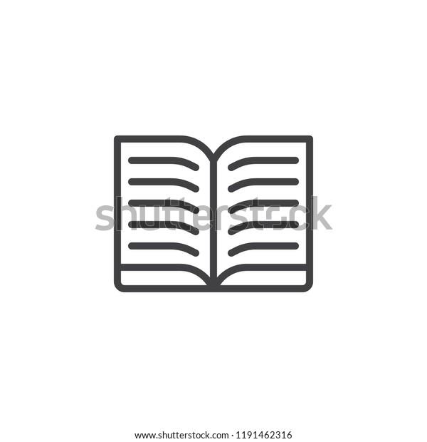 Open Text Book Outline Icon Linear Stock Vector (Royalty