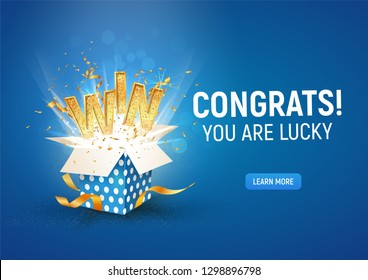 Open textured blue box with confetti explosion inside and win gold word on blue background horizontal illustration.